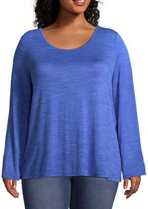 Boutique + + Long Sleeve Bar Back Slub-Knit T-Shirt - Plus