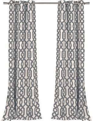 DR International Fretwork Geometric Blackout Grommet Curtain Panels