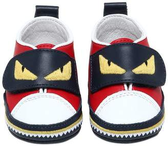 Fendi Embroidered Strap Leather Sneakers