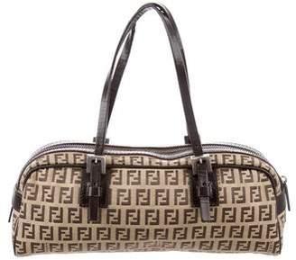 Fendi Zucca Leather-Trimmed Shoulder Bag