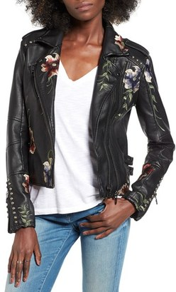 Women's Blanknyc Embroidered Faux Leather Moto Jacket $168 thestylecure.com