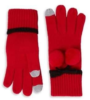 Kate Spade Bow Pom-Pom Gloves