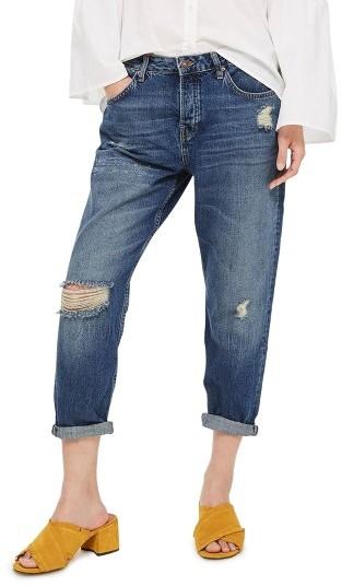 TopshopPetite Women's Topshop Hayden Ripped Boyfriend Jeans