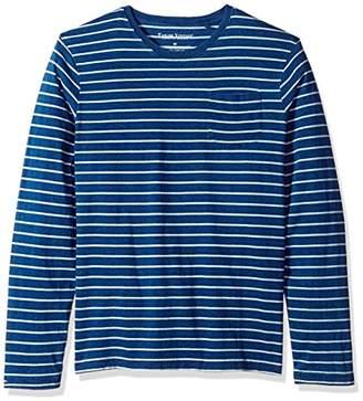 Tailor Vintage Men's Long Sleeve Indigo Sailor Stripe Jersey Pocket Tee