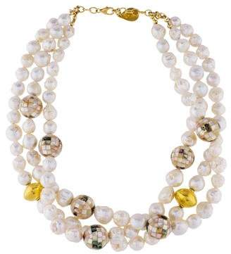 Devon Leigh Pearl & Mother of Pearl Multistrand Bead Strand Necklace