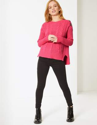 Marks and Spencer PETITE Cotton Blend Textured Jumper