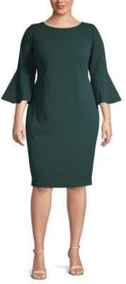Calvin Klein Plus Bell Sleeve Sheath Dress