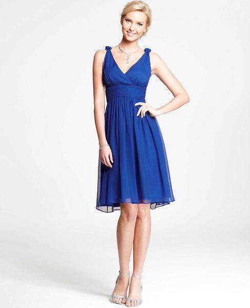 Ann Taylor Petite Silk Georgette Knot Shoulder Dress