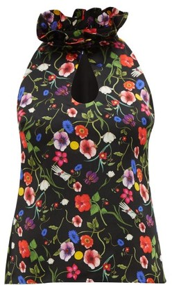 Borgo de Nor Katarina Surreal Print Silk Top - Womens - Black Print