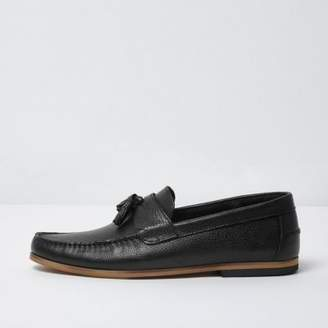 River Island Mens Black tumbled leather tassel loafers