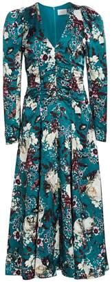 Erdem Annalee Ruched Bodice Puff Shoulder Floral Midi Dress