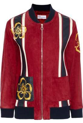 RED Valentino Leather-Appliquéd Embroidered Suede Bomber Jacket