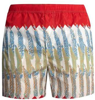 Valentino Feather Print Swim Shorts - Mens - Red