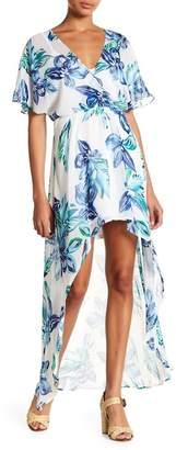 Lush Short Sleeve Print Hi-Lo Dress