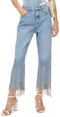 Topshop Beaded Fringe Jeans