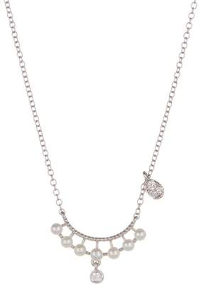 Meira T 14K White Gold 2mm Freshwater Pearl & Diamond Necklace - 0.05 ctw