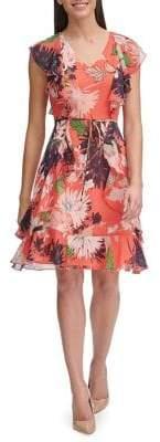 Tommy Hilfiger Floral Chiffon Fit--Flare Dress
