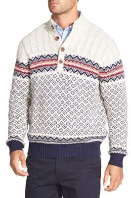 Izod Big Tall Fair Isle Cotton Sweater
