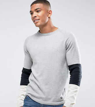 Jack and Jones Originals Knitted Sweater With Sport Stripe Sleeve