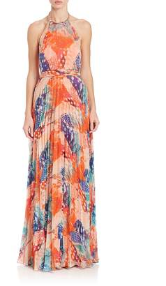 Laundry by Shelli Segal Women's Printed Halter Gown