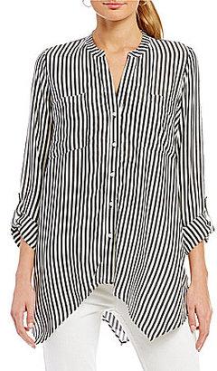 Jones New York Sharkbite Hem Stripe Easy Tunic $79.50 thestylecure.com