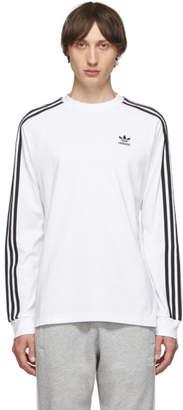 adidas White 3-Stripes Long Sleeve T-Shirt