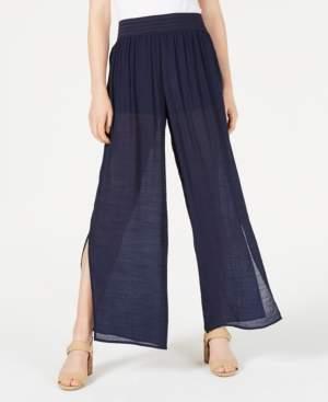 BCX Split Wide-Leg Gauzy Pants