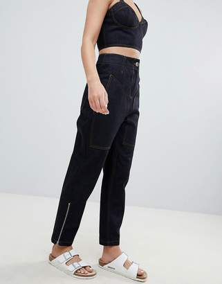 Asos Design Clean Tapered Boyfriend Jeanswith Contrast Stitch Detail