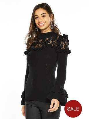 V By Very Petite Lace Yoke Knitted Jumper - Black