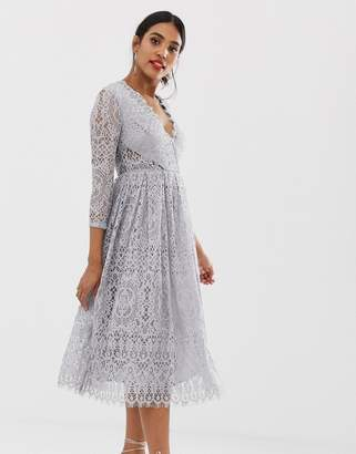 187edb7f92e4 Asos Design DESIGN long sleeve lace midi prom dress