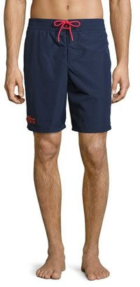 Lacoste Embroidered Crocodile Long-Fit Swim Trunks, Navy $85 thestylecure.com