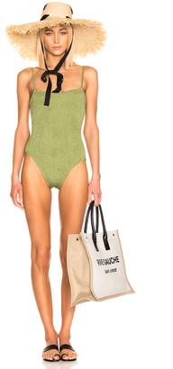 Hunza G Maria Swimsuit in Metallic Moss | FWRD