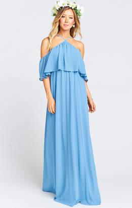 Show Me Your Mumu Rebecca Ruffle Maxi Dress ~ Coastal Blue Chiffon