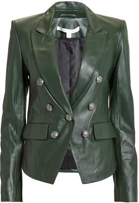 Veronica Beard Cooke Green Leather Jacket
