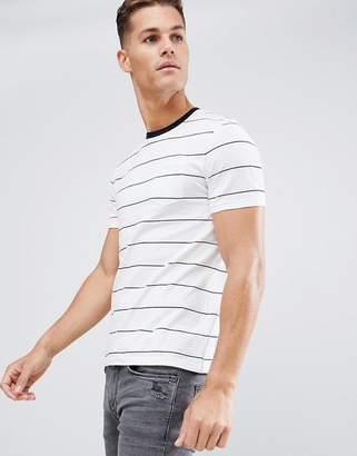 Celio T-Shirt In Block Stripe With Pocket