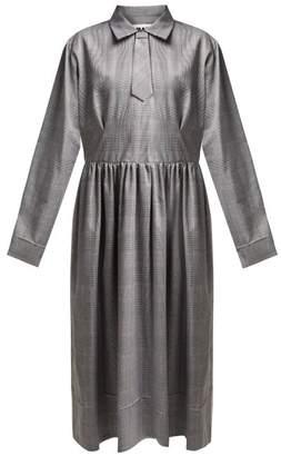 MM6 MAISON MARGIELA Checked Print Midi Dress - Womens - Grey Multi