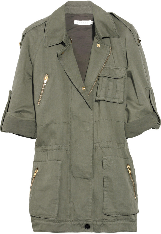 Sandro Cotton and linen-blend army jacket