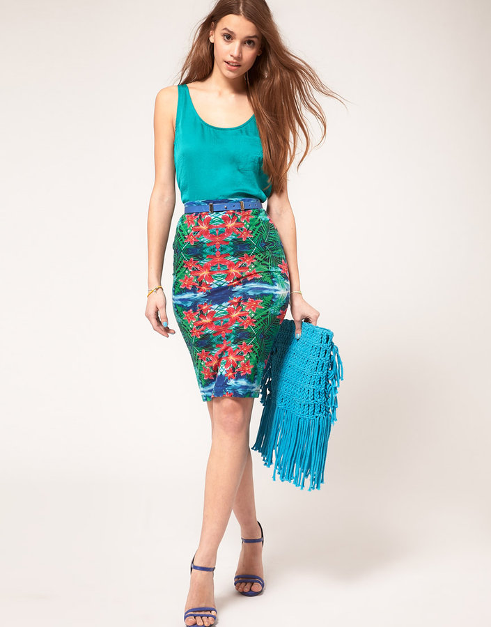 ASOS Pencil Skirt In Mirrored Tropical Print