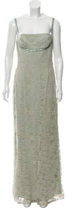 Carmen Marc Valvo Sleeveless Lace Gown tan Sleeveless Lace Gown