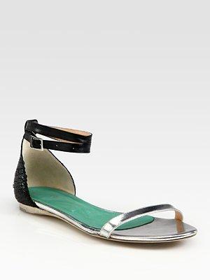 Tibi Amber Mixed-Media Leather Colorblock Gladiator Sandals
