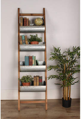 Laurèl Kate and Felix Luther Wood and Metal Leaner Storage Bin Ladder, White