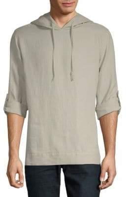 Saks Fifth Avenue BLACK Long-Sleeve Linen Hoodie
