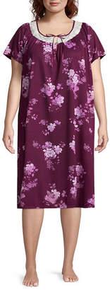 Adonna Knit Short Sleeve Nightgown-Plus