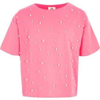 River Island Girls pink faux pearl embellished T-shirt
