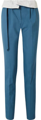 Gabriela Hearst Beatrice Fold-over Wool Straight-leg Pants - Teal