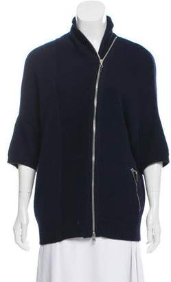 Brunello Cucinelli Cashmere Short Sleeve Zip-Up Cardigan