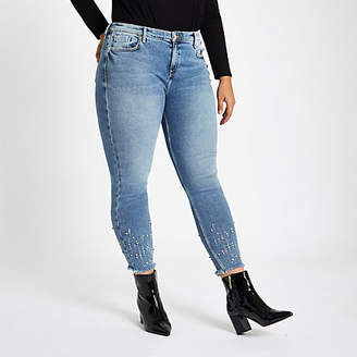 River Island Plus light blue Amelie studded hem jeans