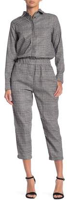 Lucca Couture Plaid Long Sleeve Jumpsuit