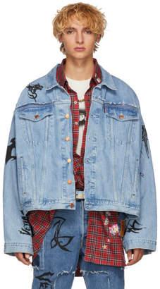 Vetements Blue Levis Edition Denim Oversized Tribal Jacket