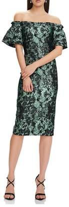 Theia Off Shoulder Dress